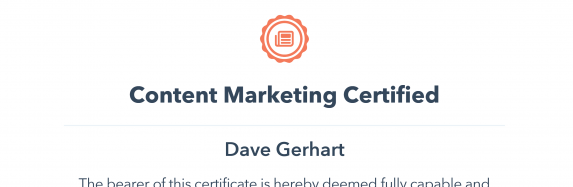 HubSpot Academy Content Marketing Certificate