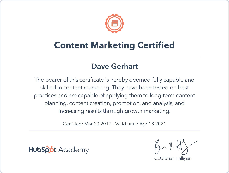 Hubspot Academy Content Marketing Certificate Dave Gerhart